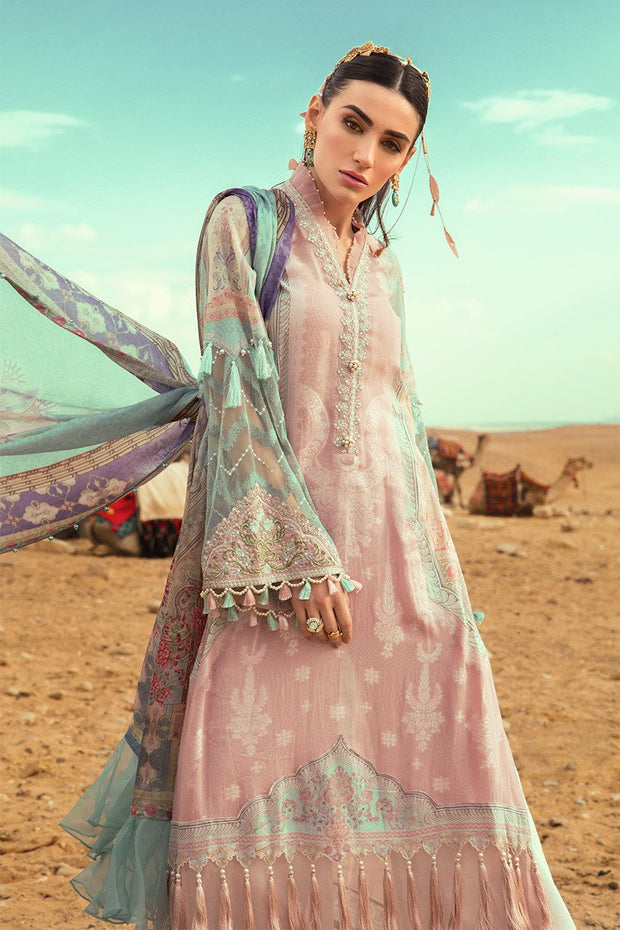 Pakistani embroidered designer eid outfit in pink and blue color