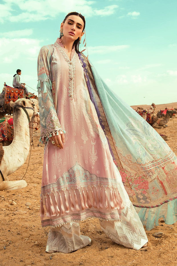 Pakistani embroidered designer eid outfit in pink and blue color # E2203