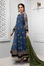 Fancy Pakistani frock style net dress in blue color # P2229