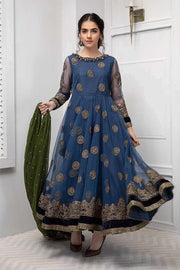 Fancy Pakistani frock style net dress in blue color