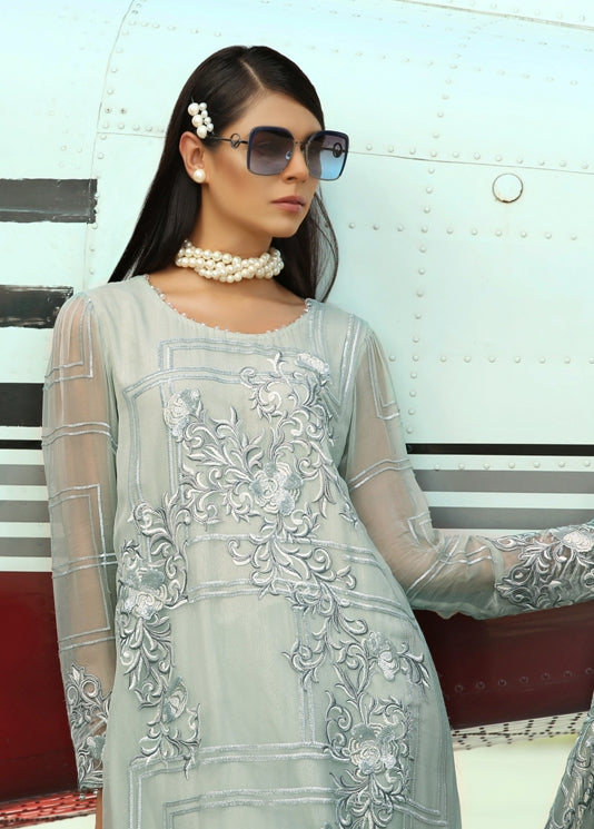 Latest Embroidered chiffon dress 2