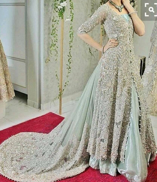 Bridal lahnga set in mint green and silver with dabka nagh zari and cut work color M#B 107