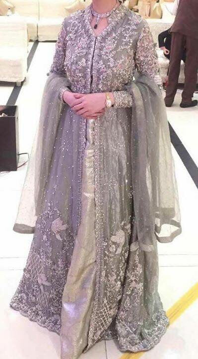 Bridal maxi with dabka zari pearls nagh and cut work color silver and gry  Model # B 195