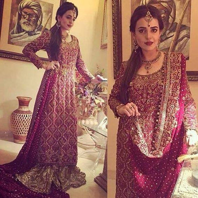 Wedding bridal lahnga with dabka zari nagh and pearl work M#B 117