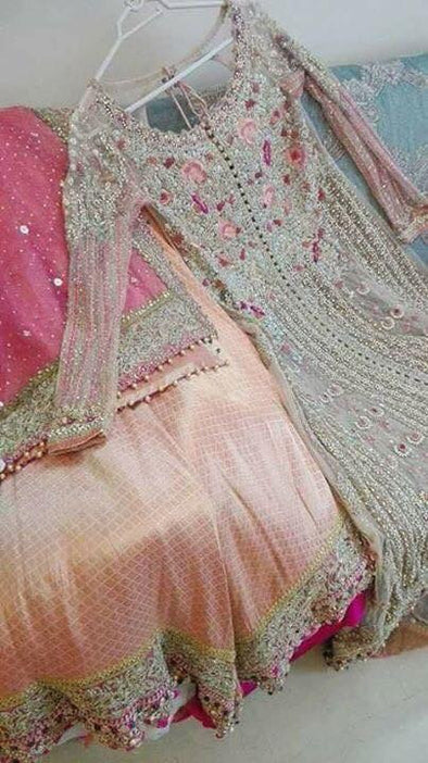 Wedding bridal lahnga dabka nagh zari cutwork and threads work Model#B 134