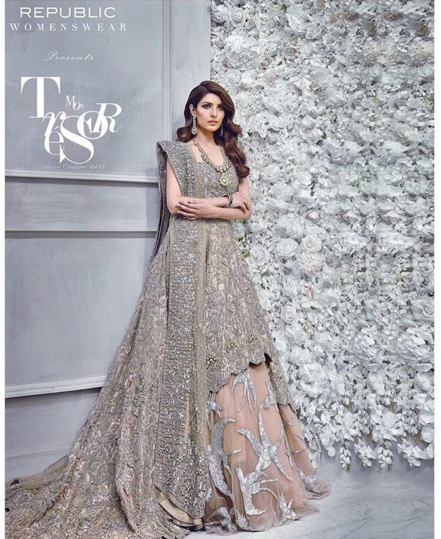 Bridal lahnga brown silver color with dabka nagh threads and zari work  Model # B 197