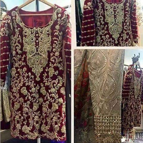 Wedding party dress with pure dabka zari nagh and cutwork Model #P 229