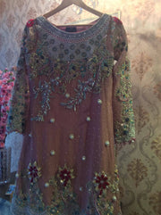 Wedding party dress with pure dabka multi threds pearls and sequence work Model # P 237