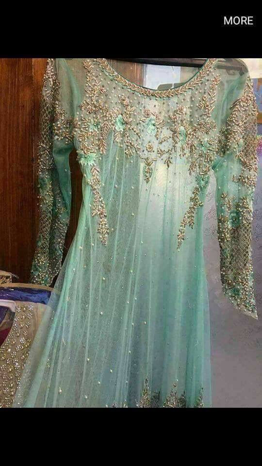 Wedding party dress with perls dabka and jaal cutwork Model # P 240