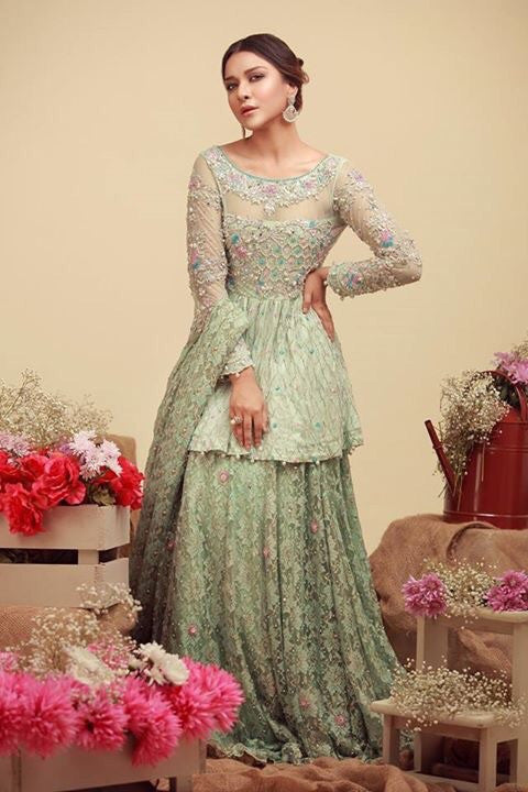 Bridal dress in light mint green color