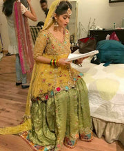 Wedding brida yellow and mehndi green color with gota dabka zari nagh threds work Model#M 108