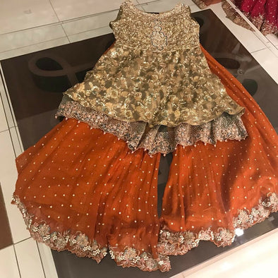 Orange and light mehndi green gharara set M#G 86