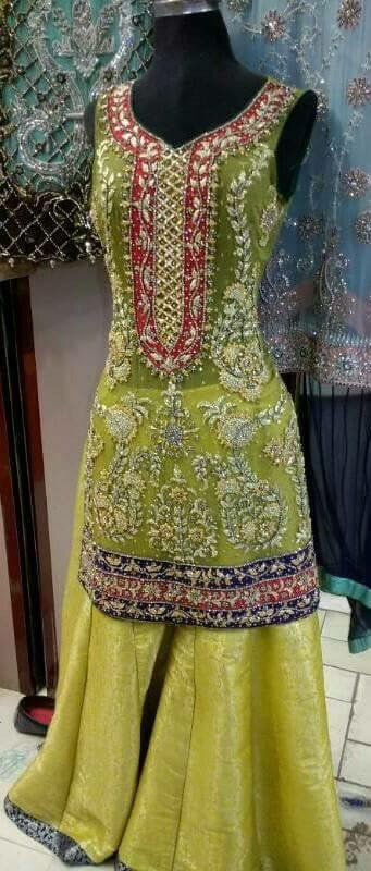 Wedding mehndi lahnga with pure dabka gota nagh and cutwork Model #P 184