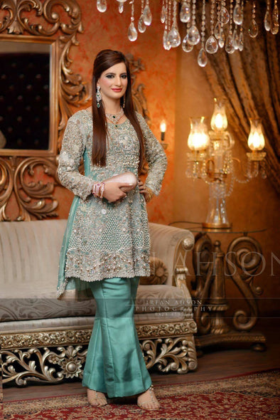 Wedding party dress with dabka pearls nagh and cutwork  Model #P 219