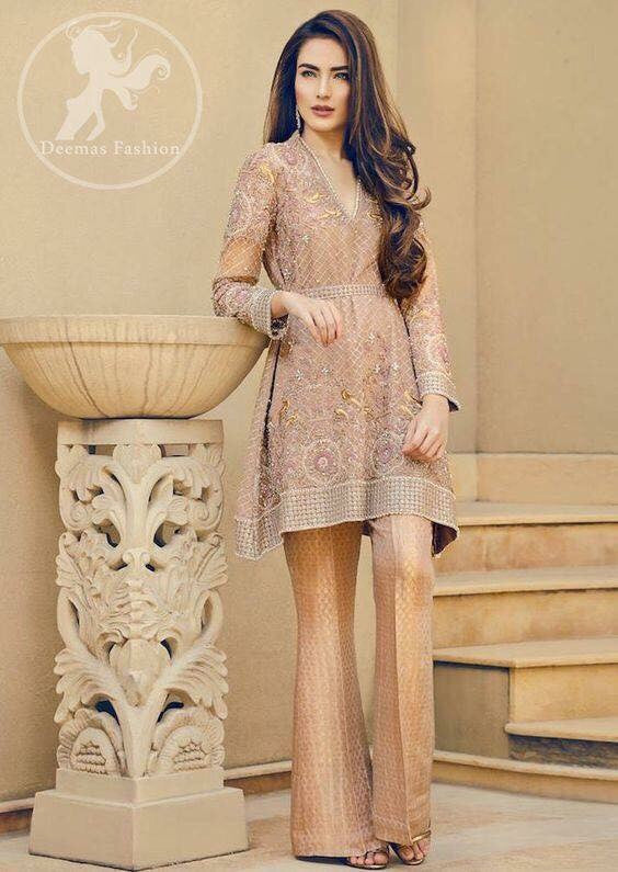 Wedding Party  dress skin and gold color  with dabka threads nagh and perl work  Model#P 81