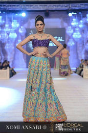 Wedding mehndi lahngawith block printing dabka threds sequance and nagh work  Model#M 133