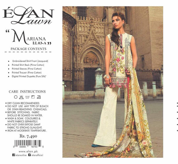 Lawn dress by elan M#L 121