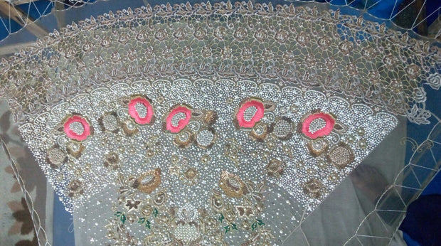Wedding bridal dress with threds dabka pearls nagh and cutwork M#B 138