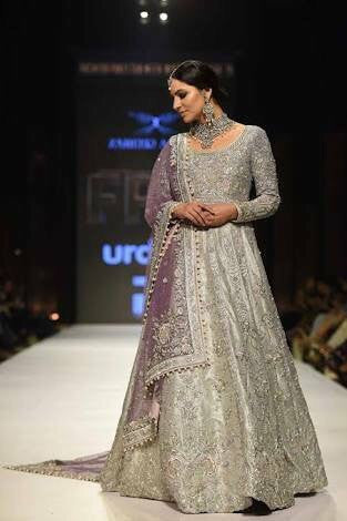 Bridal maxi  with zari dabka nagh and pearl work color lilac and gray silver M#B 100