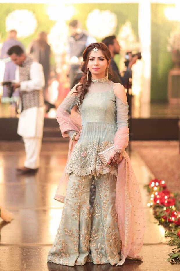 Wedding party dress with dabka nagh zari and threads work  Model#P 146