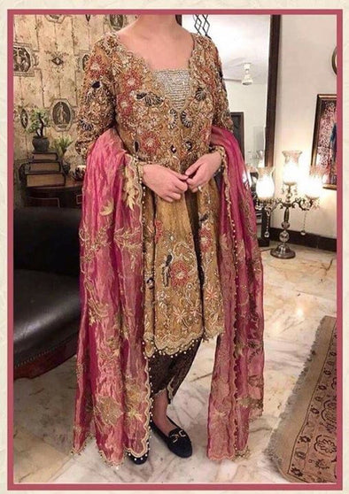 Wedding party dress dabka nagh and zari work  Model # P 213