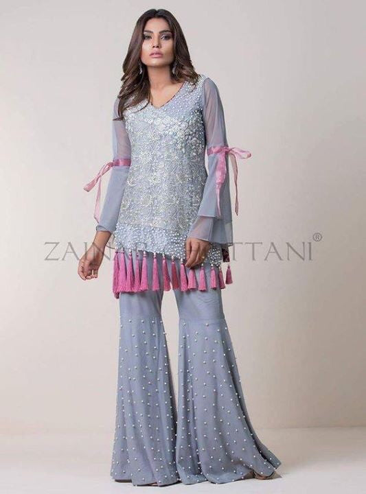 Wedding party dress with dabka threds and pearls work Model # P 208