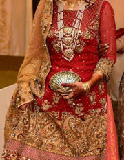 Wedding bridal dress in red and gold colour with dabka zari nugh and kundan work M#B 130