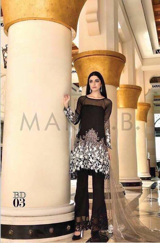 Chiffon party dress by Maria b color black M#C 109
