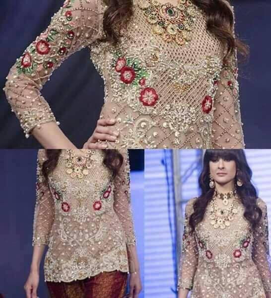 Wedding party dress with dabka nagh heavy cutwork and threds work Model # P 185
