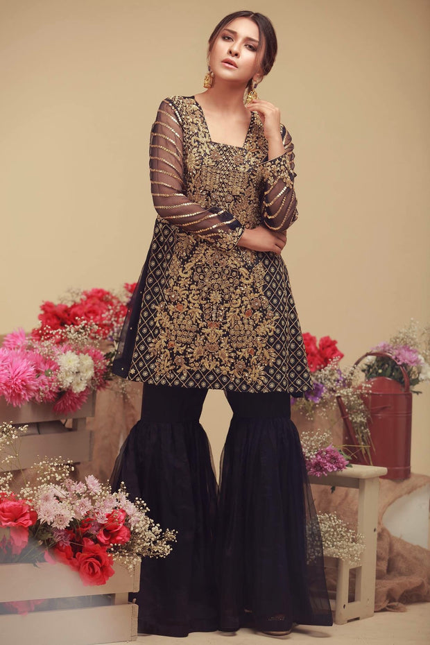 Wedding party dress with dabka zari nagh pearls and threds work Model#P 141