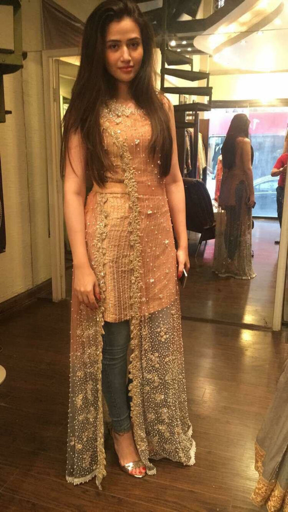 Wedding party dress in golden peach and sea green color  with pearls moti nagh and dabka work Model#B 86