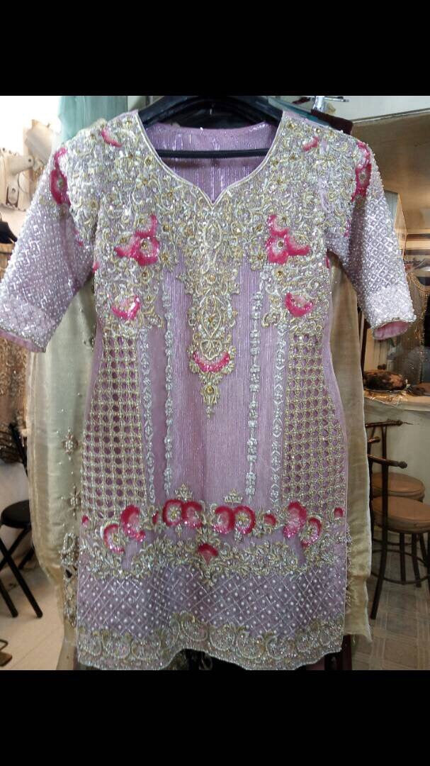 Wedding party dress silver dabka nagh sequance and threads work  Model#B 131