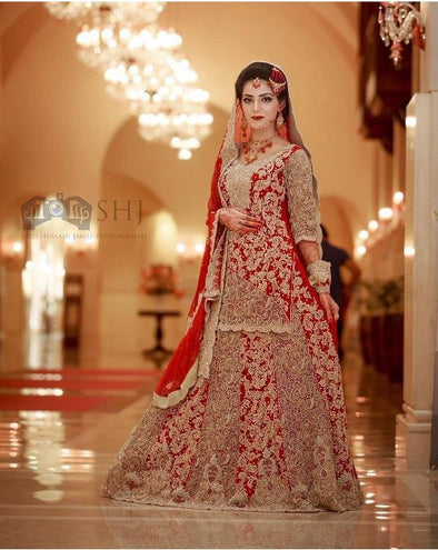 Bridal lahnga hot red color M#B 83