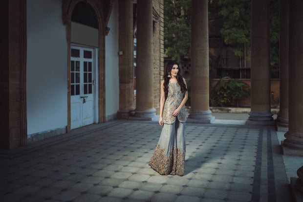 Wedding party dress gray and gold color with dabka threds and multi work Model#P 98