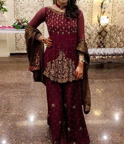 Wedding party dress dabka nagh perls and zari work  Model # P 214