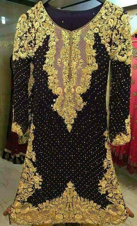 Wedding party dress with dabka cutwork pearls and nagh   Model # P 216