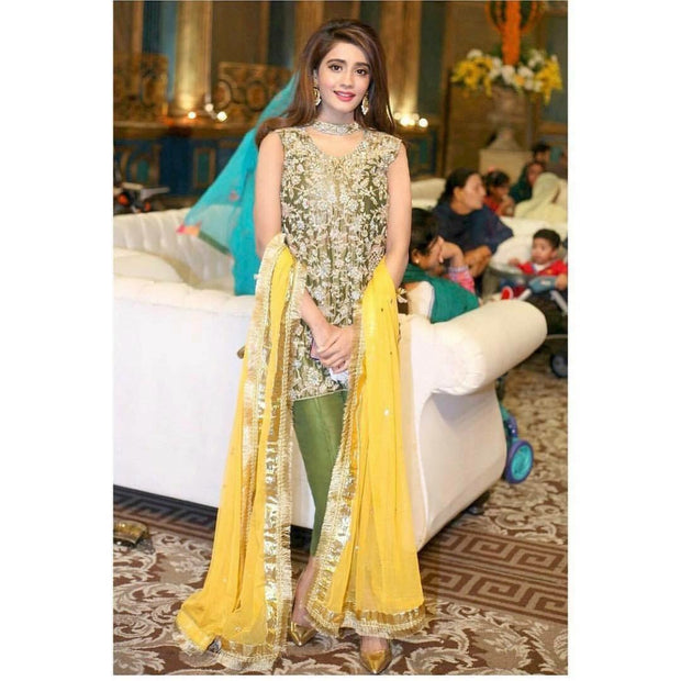 Wedding party dress in mehndi green and yellow with pure dabka and nzgh work Model#P 90