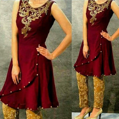 Wedding party dress in maroon and golden with dabka and pearls work Model#P 106