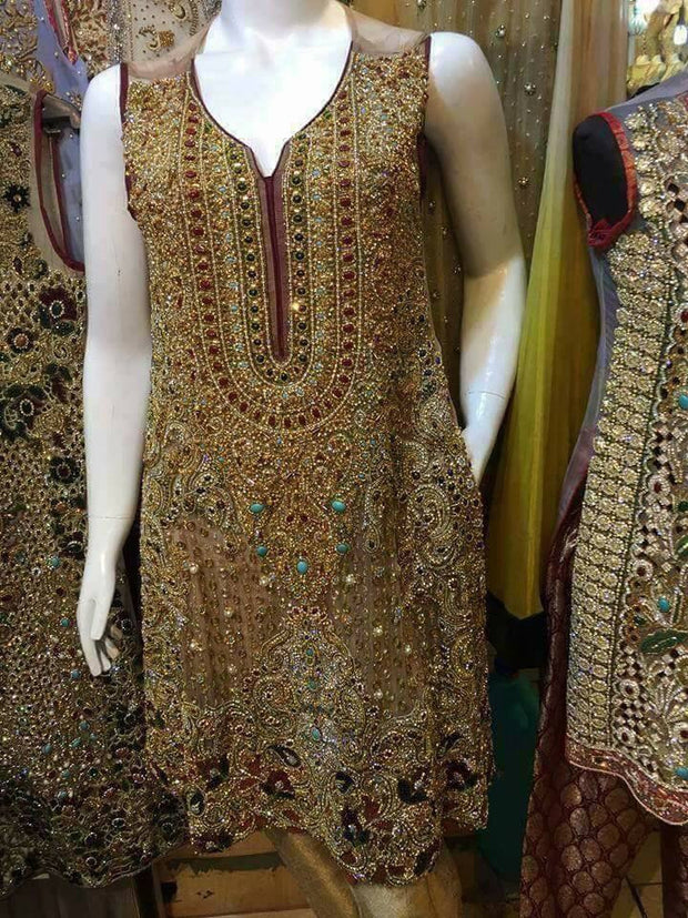 Wedding party dress multi nagh dabka and pearls work Model # P 220