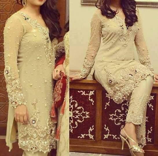 Wedding party dress with dabka nagh pearls and cutwork Model # P 215