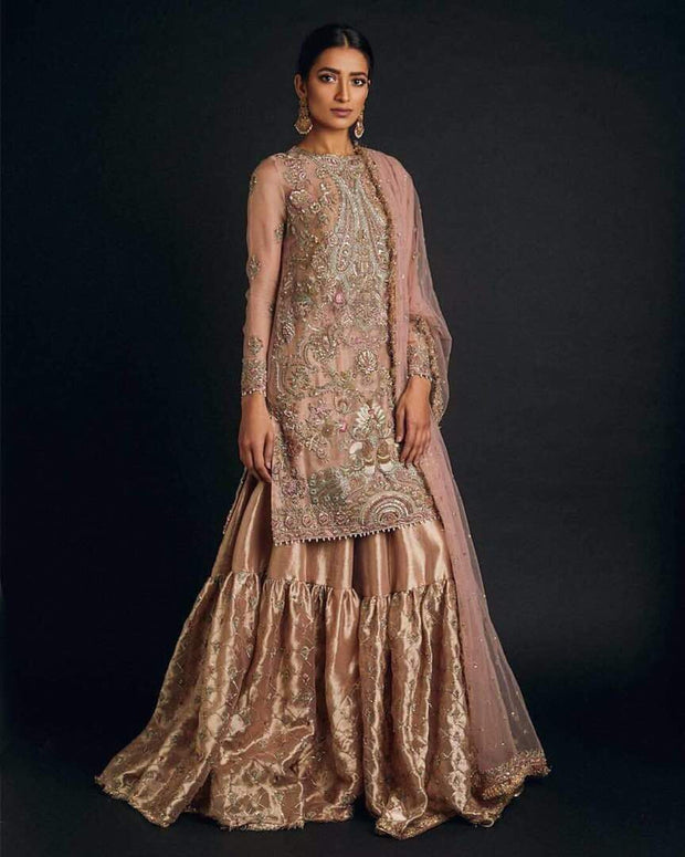 Bridal gharara set in pink golden color M#B 113