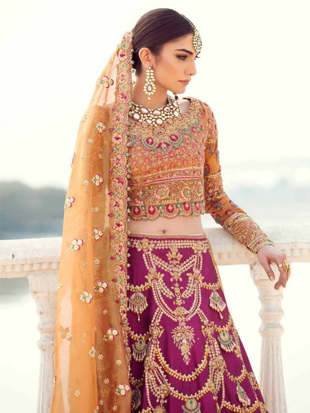 Indian bridal lehenga in traditional colours