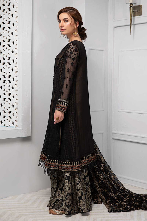 Beautiful Indian chiffon outfit in lavish black color # P2242