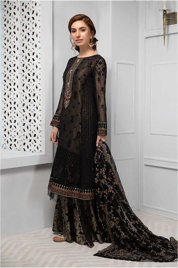 Beautiful Indian chiffon dress in lavish black color