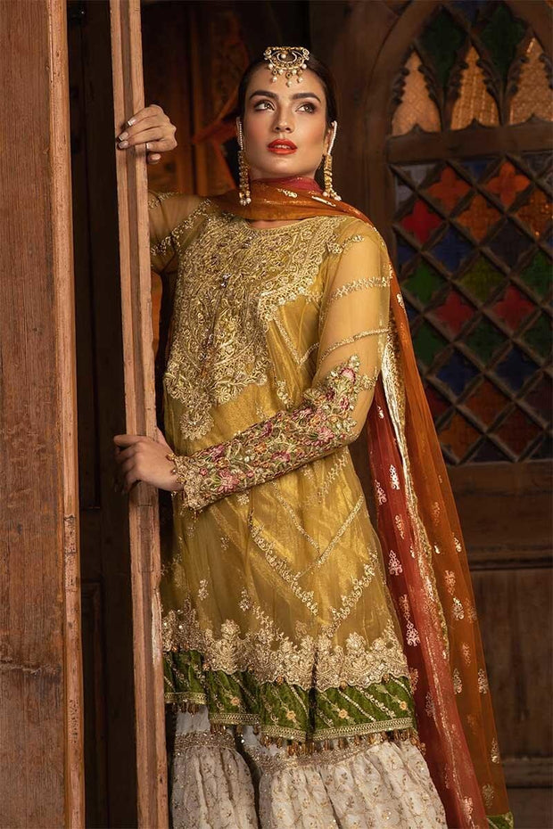 Beautiful Indian dress in mustard and off white color # P2246