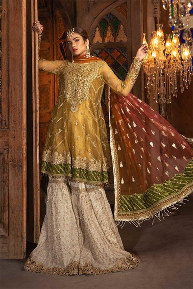 Beautiful Indian dress in mustard and off white color