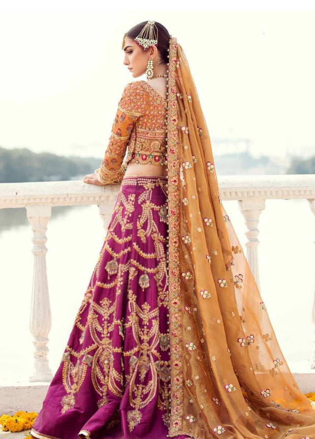 Indian bridal lehenga in traditional colours 1