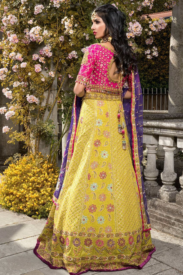 Elegant Indian mehndi dress in yellow and pink color # B3307