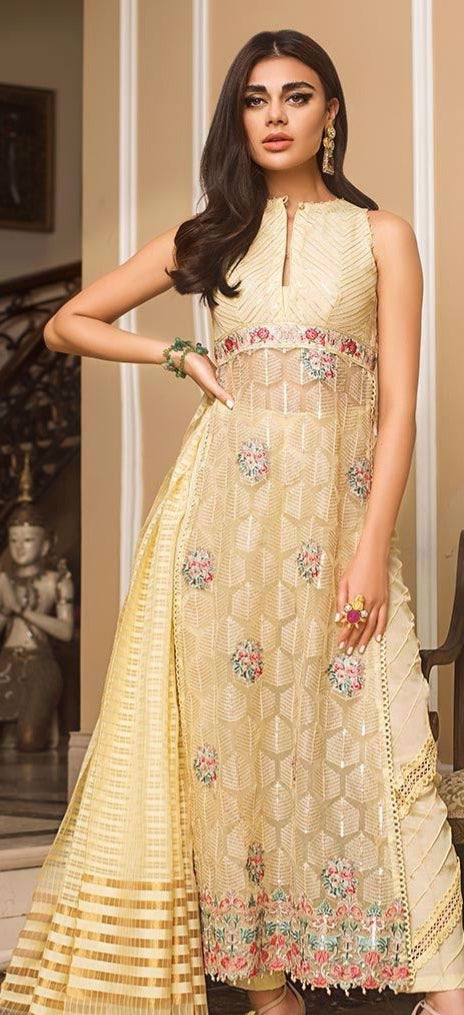 Designer Indian party wear dress in light yellow color # P2214