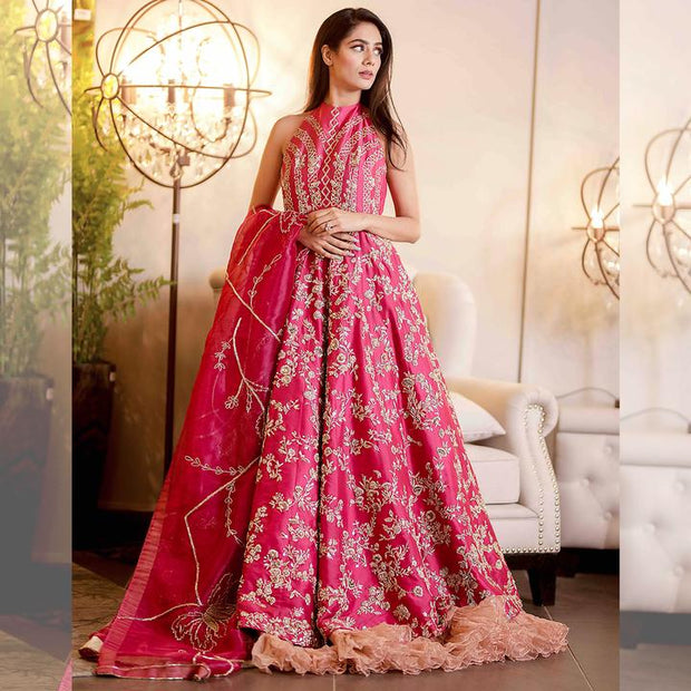 Hot Pink Indian Reception Dress For Bride